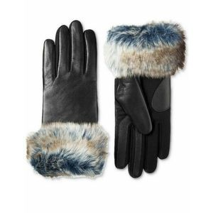 ISOTONER Faux Fur Cuff Leather Touchscreen Gloves